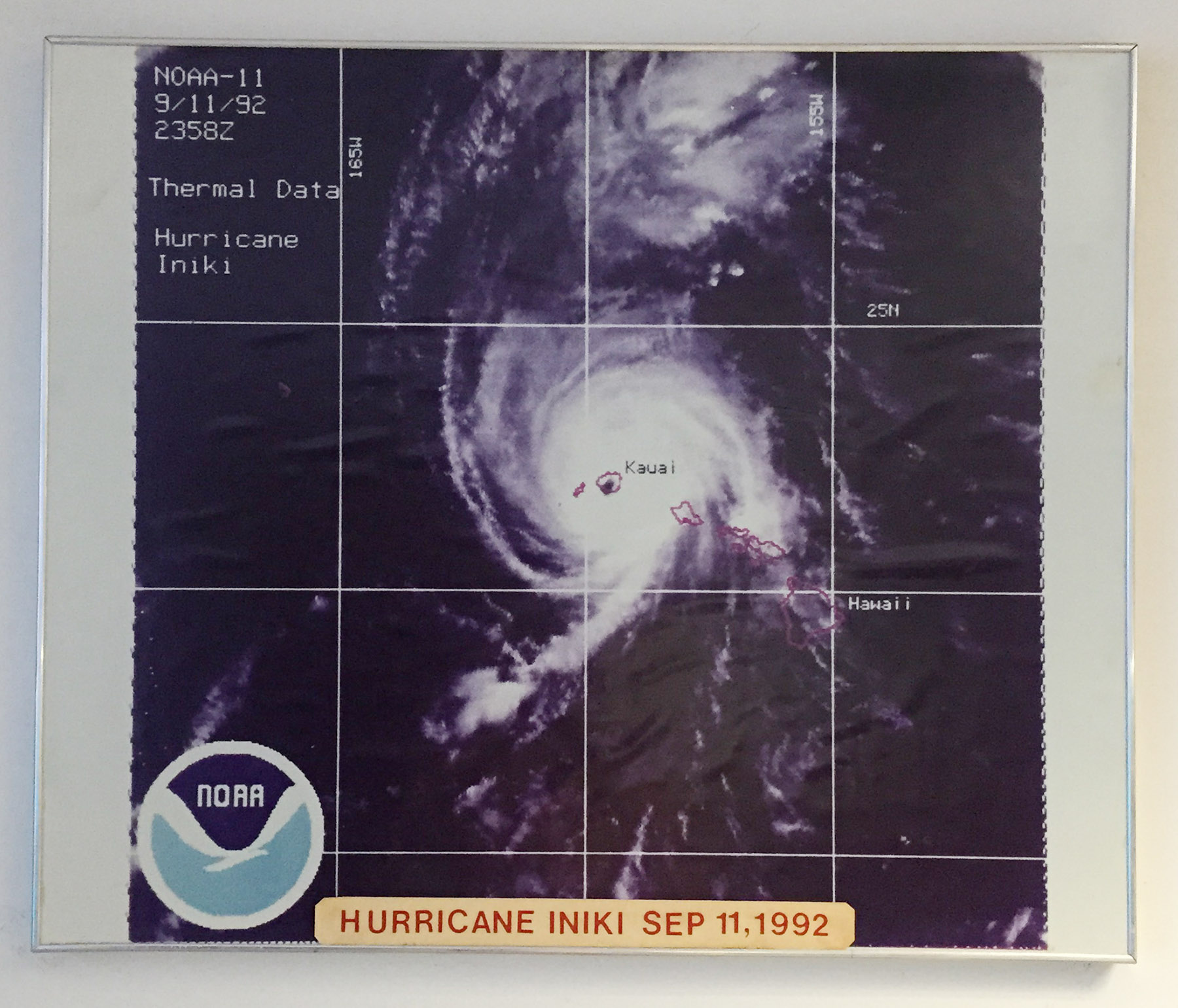 photo at the EOC, basement of Fasi Building. Hurricane Iniki. 4 aug 2015. photograph Cory Lum/Civil Beat