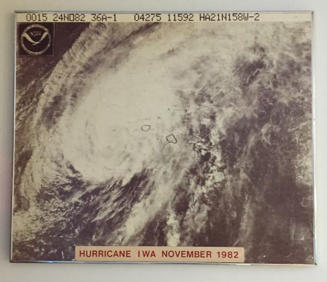 Hurricane Iwa. November 1982 photograph at EOC Fasi Building Basement . 4 aug 2015.photograph Cory Lum/Civil Beat