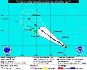 Hurricane Ignacio Slowly Moving Toward Hawaii