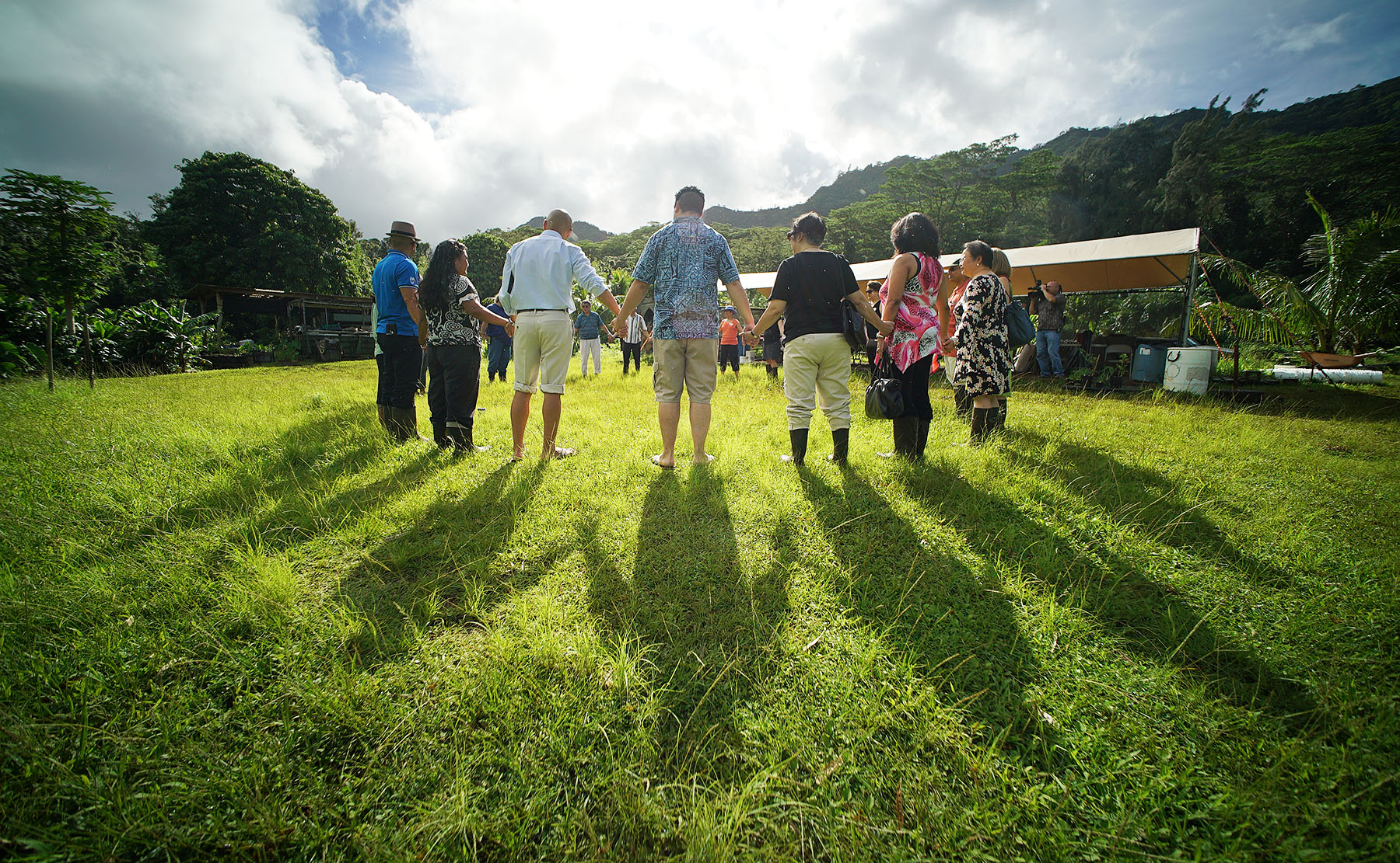 <p>Commission members and others hold hands as they introduce themselves. The nature park is run by Kokua Kalihi Valley, a non-profit health organization that recognizes that the land is an integral part of community health.</p>