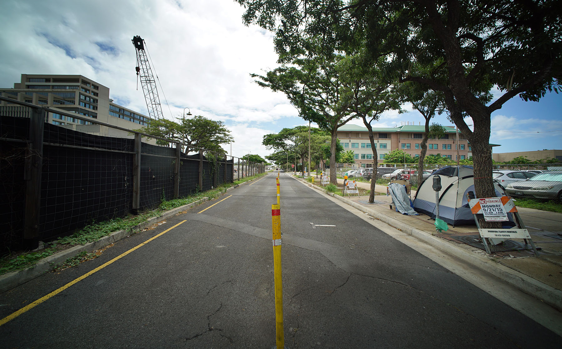 <p>A single tent was set back up along Ilalo Street after the sweep, but it remains to be seen how long it will be allowed to remain.</p>