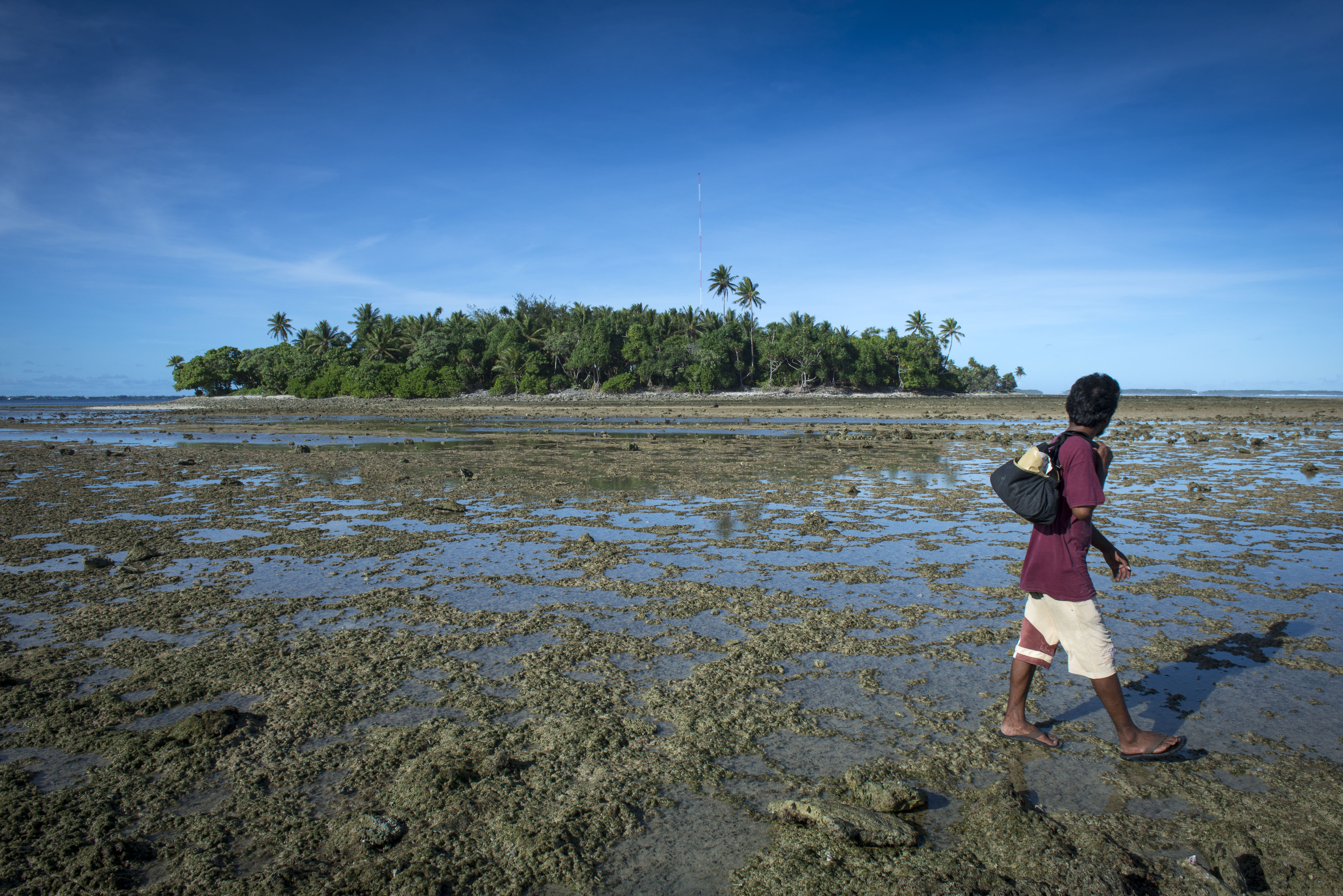<p>At low tide, Marshallese walk back and forth between Ejit island and Majuro island.</p>