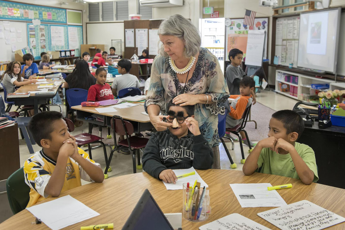 Robin Miller, a teacher with Micronesian students, at a Big Island elementary and middle school. February 2015