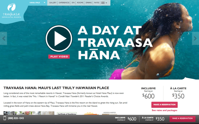 Screenshot of the Travaasa Hotel Hana Resort's website. The resort in Maui must pay $187,500 for failing to close large-capacity cesspools.