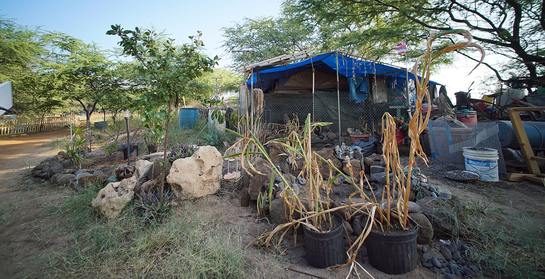 <p>Tita's structure is located close to the rocky shoreline. She used recycled materials to landscape both her front and backyard area.</p>