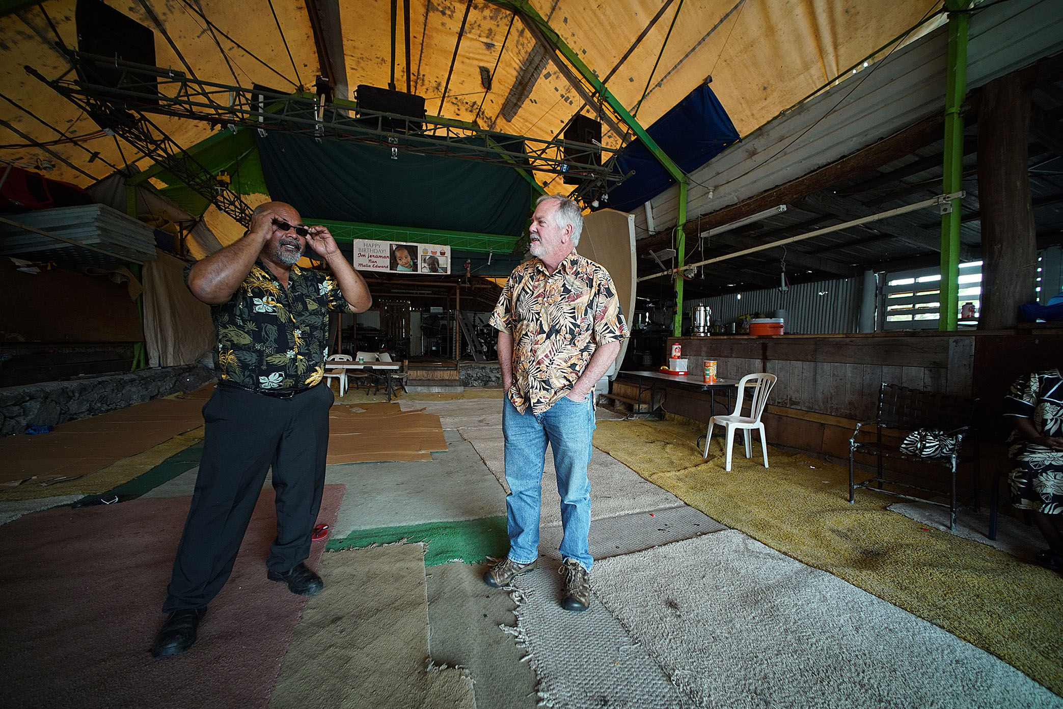 <p>Jonithen Jackson, left, with state Rep. Richard Creagan, at Jackson's studio and gathering place on the Big Island. Creagan is a former Peace Corps volunteer in the Marshall Islands.</p>