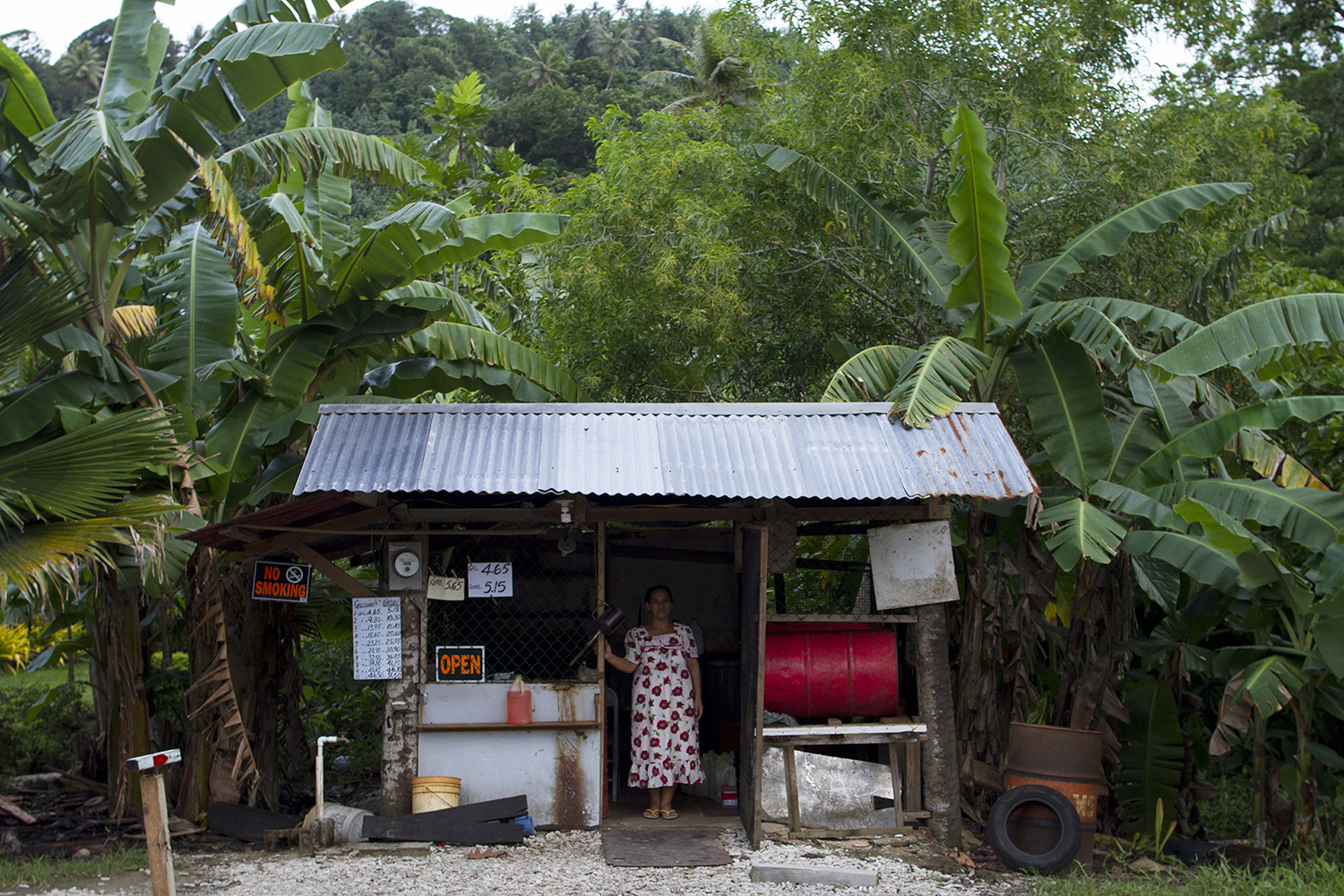 <p>A gas station in Sansrik underscoresthe rural character of the island.</p>