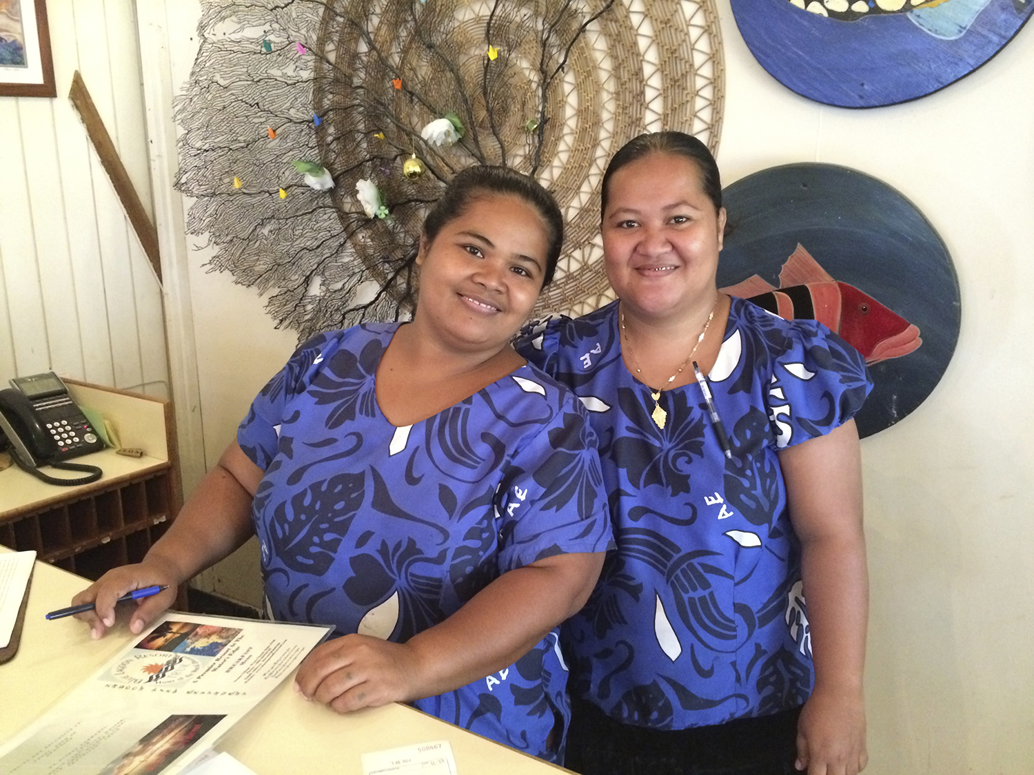 <p>The waitresses at the Blue Lagoon Resort in Chuuk will patiently teach visitors Chuukese phrases. Photo by Chad Blair.</p>