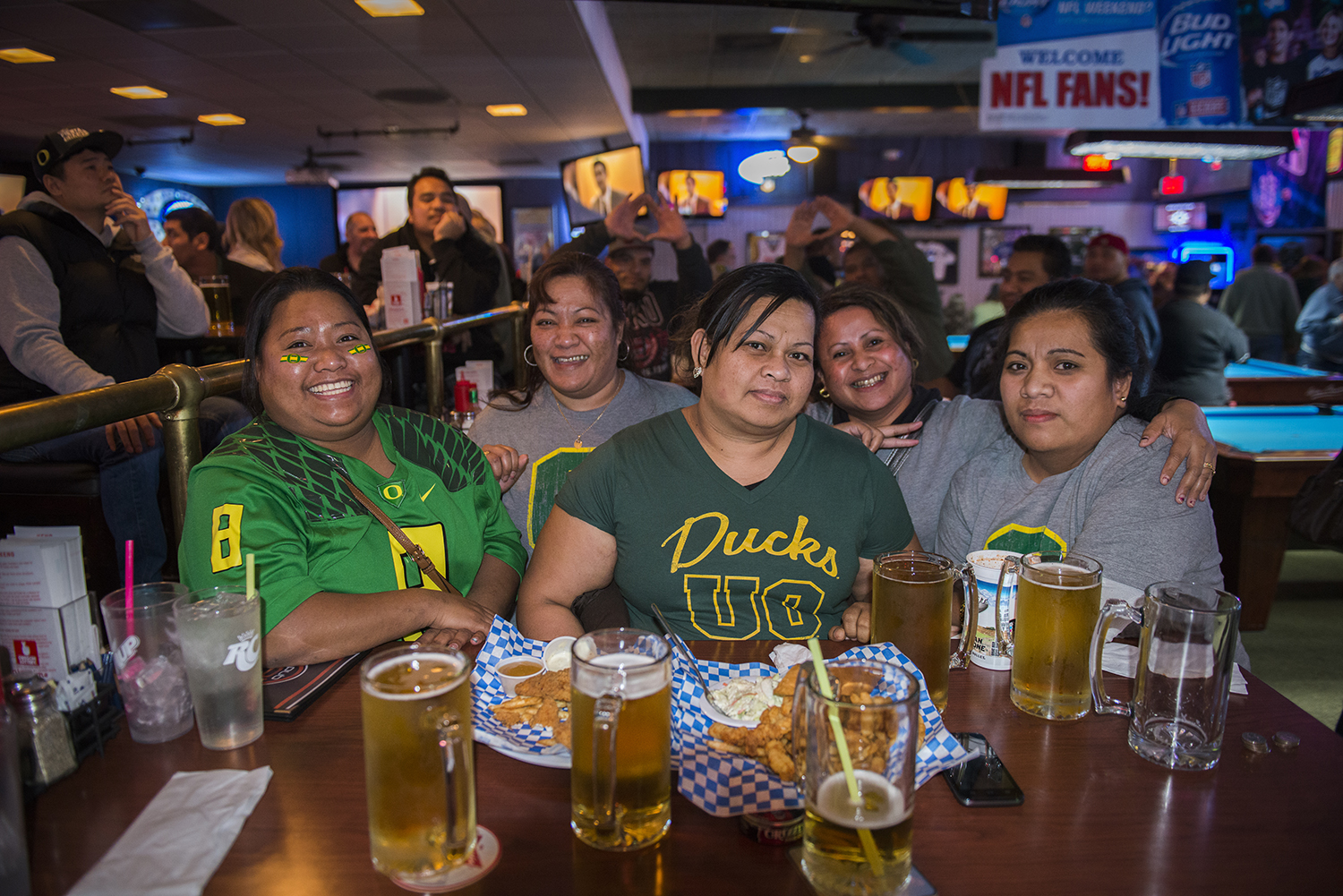 <p>Watching a Ducks game in Gresham, Oregon, from left: Doreen Iehsi Clark, Thelma Solomon, Merlyn Yens, Yoko Ezikiel and Nihna Fred.</p>