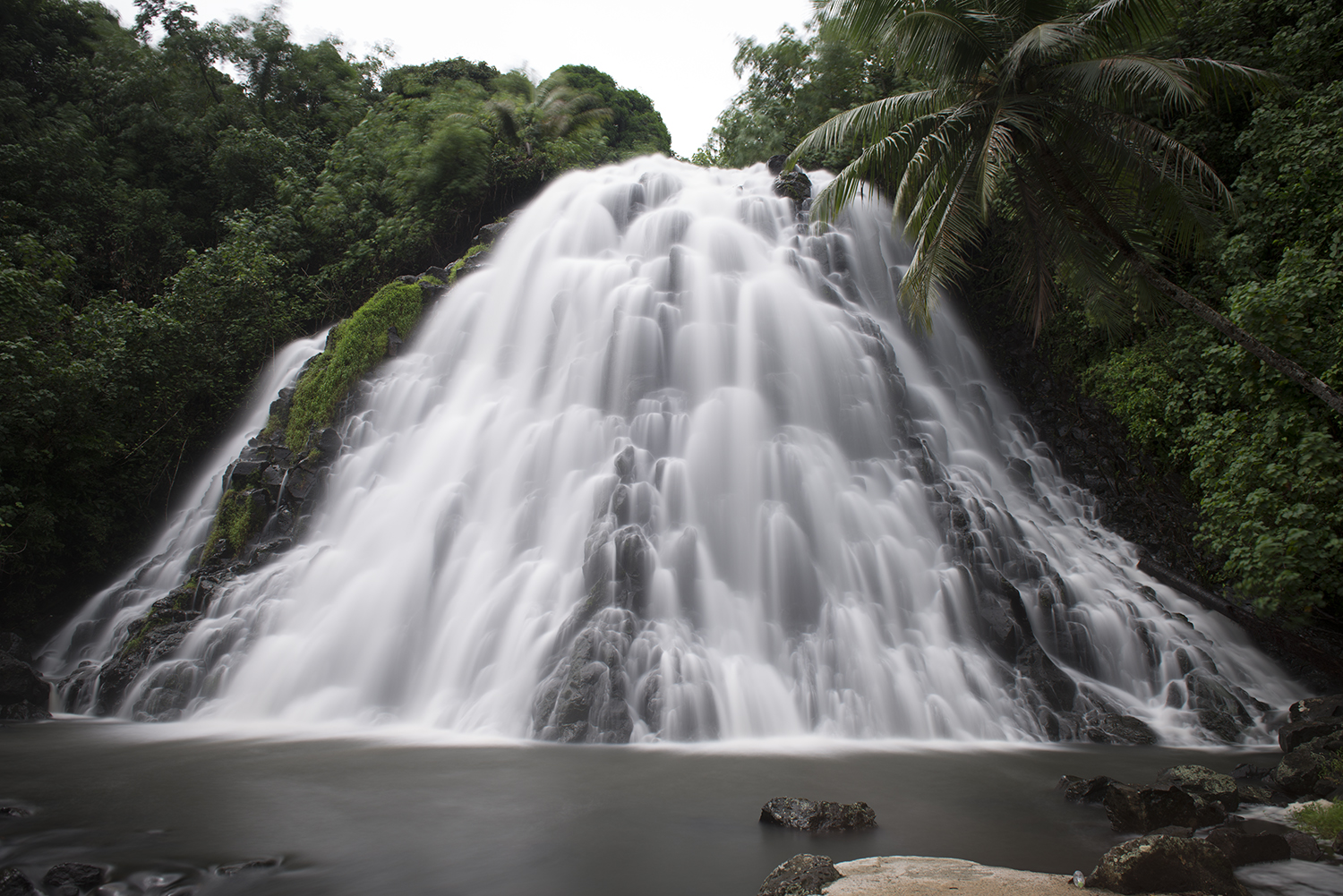 <p>Waterfalls are a popular attraction in Pohnpei, including this one, about a 20 minute walk off the main road,</p>
