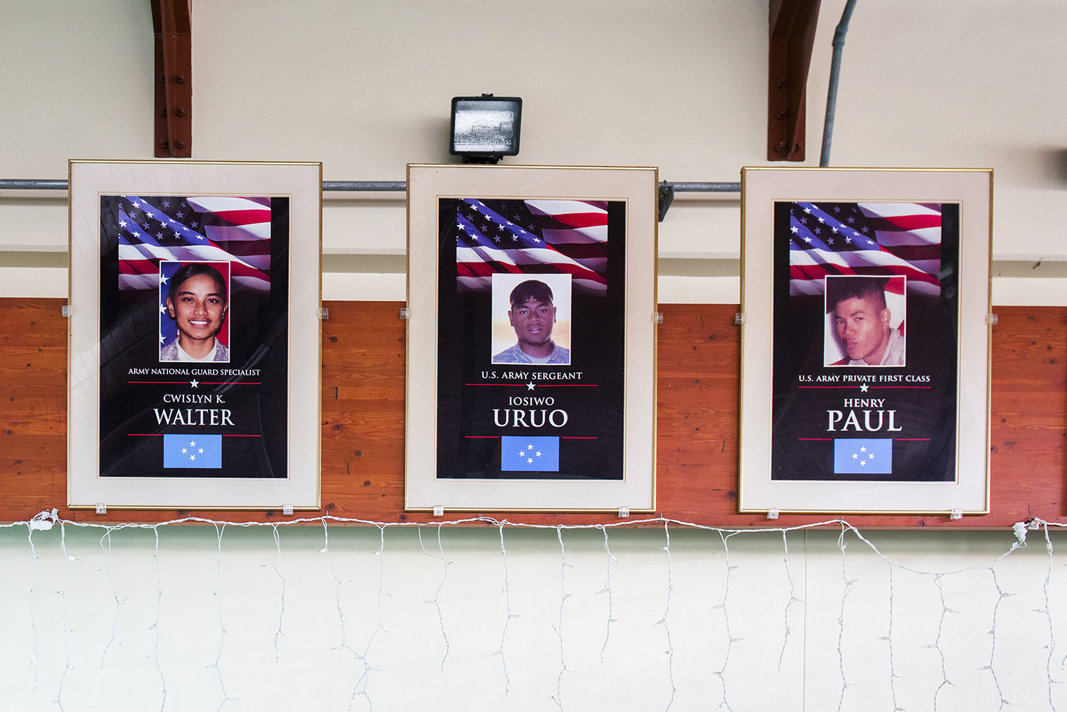 <p>A memorial to fallen Micronesian soldiers at the airport in Pohnpei. Islanders serve in the U.S. military in large numbers.</p>