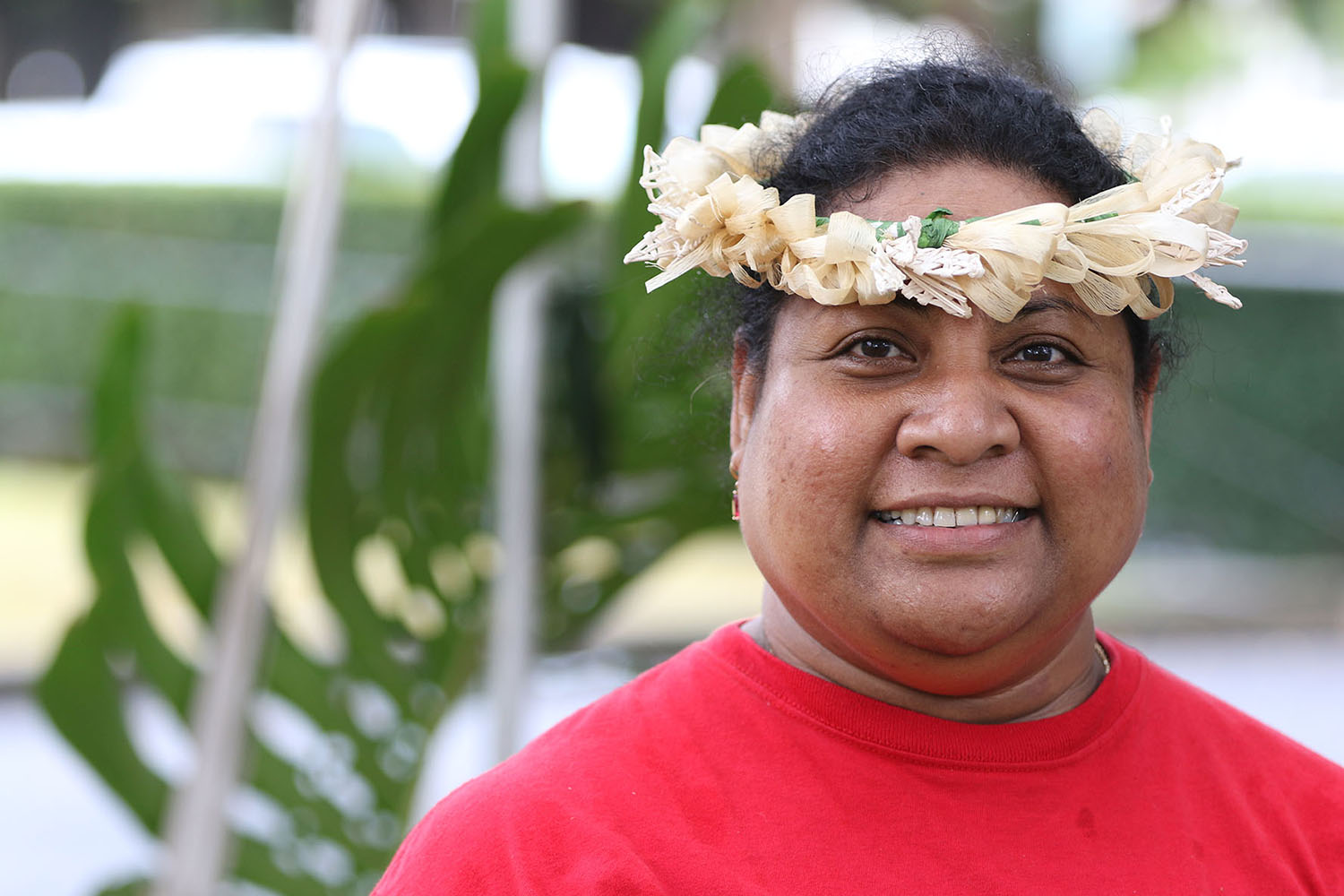 <p>Alice Ehmes leads the Pohnpei Women's Association of Hawaii in Honolulu. Photo by Cory Lum.</p>