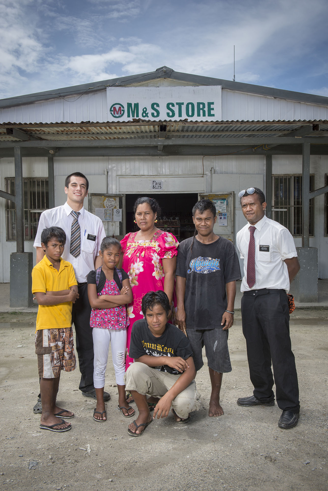 <p>Micronesians belong to a variety of faiths. Here, Mormon missionaries on Weno, the main island in Chuuk, seek to increase their flock.</p>
