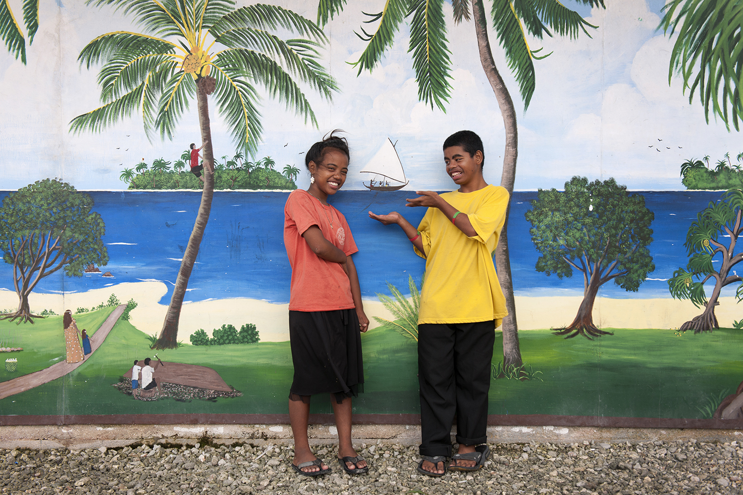 <p>One of the best things about Ebeye is the friendliness of the Marshallese youth.</p>