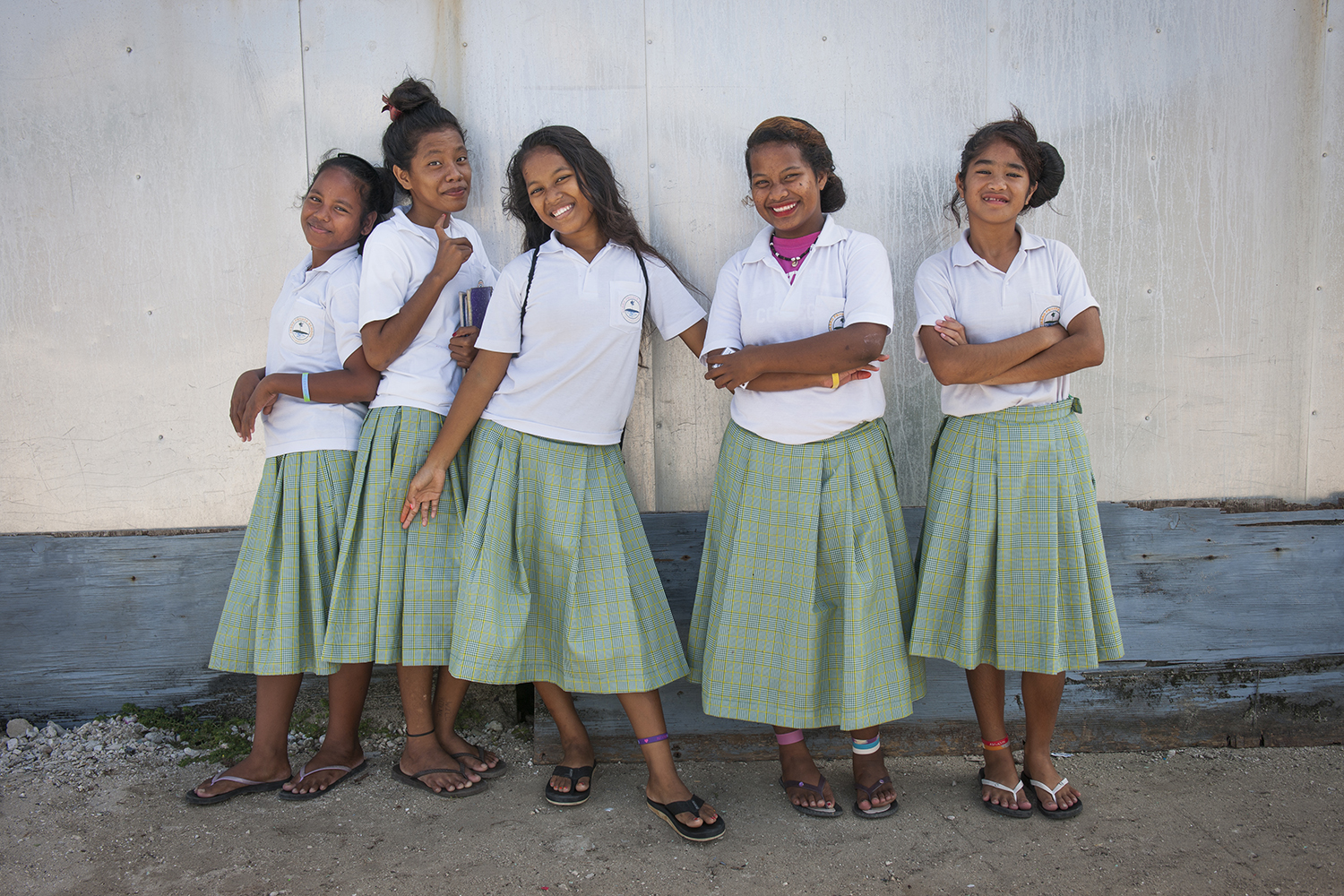 <p>Schoolgirls on Ebeye in the Marshall Islands. Photo by Mark Edward Harris.</p>