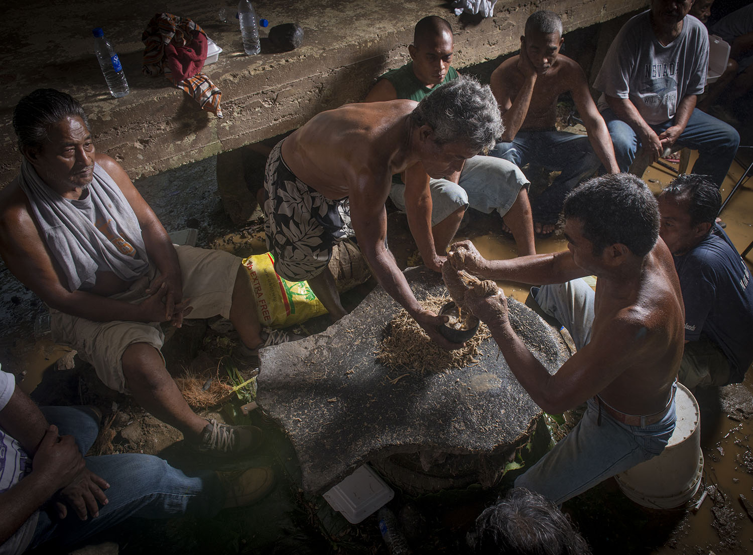<p>Pounding sakau, a mildly narcotic drink produced from the root of a plant, in Madolenhimw.</p>