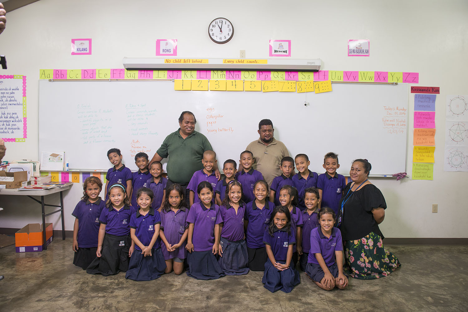 <p>A Nett Elementary classroom, with Principal Primo Loyola, left, and Vice Principal Maxson Mallarme. The administrators would like more financial help from the government to protect campus sidewalks from the rain.</p>