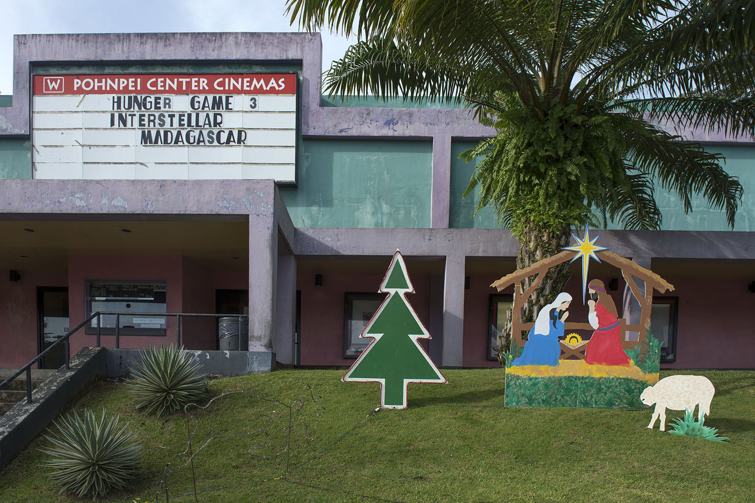 <p>A movie theater in Kolonia, Pohnpei. In December, Western influence is evident in more ways than one.</p>