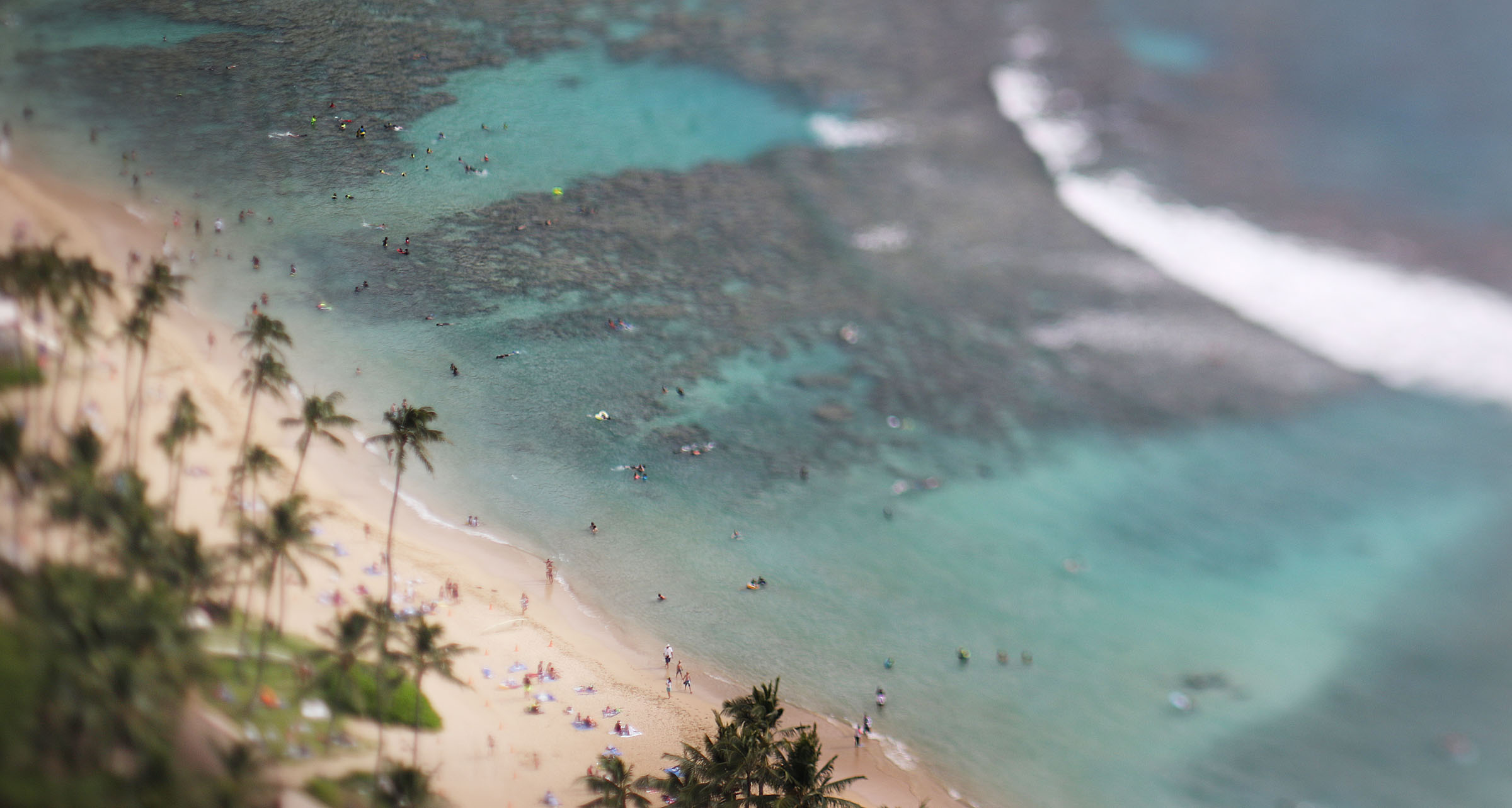<p>The view from atop Hanauma Bay, using a tilt-shift lens.</p>