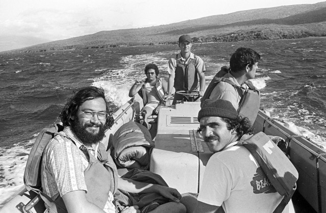 Ian Lind, front left, was one of a handful of Native Hawaiian protesters who took a stand against the military bombing of the island. He and others, including Steve Morse, front right, and Gail Kawapuna Prejean, were detained and taken to a waiting Coast Guard cutter.