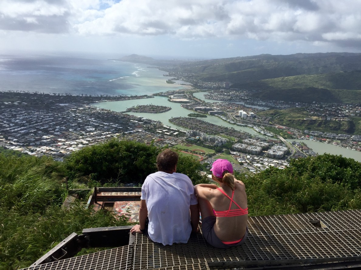 Two visitors take in the view of Hawaii Kai after hiking Koko Head.