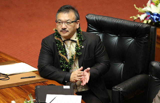 Rep. John Mizuno on opening day of the 2016 Hawaii Legislature.