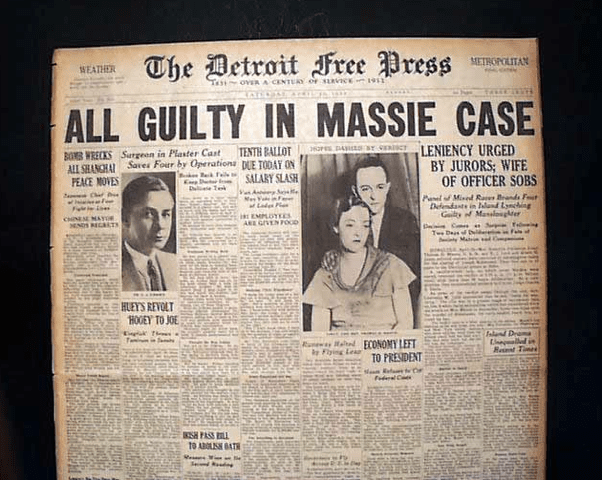 The trial was front-page news in newspapersaround the country.