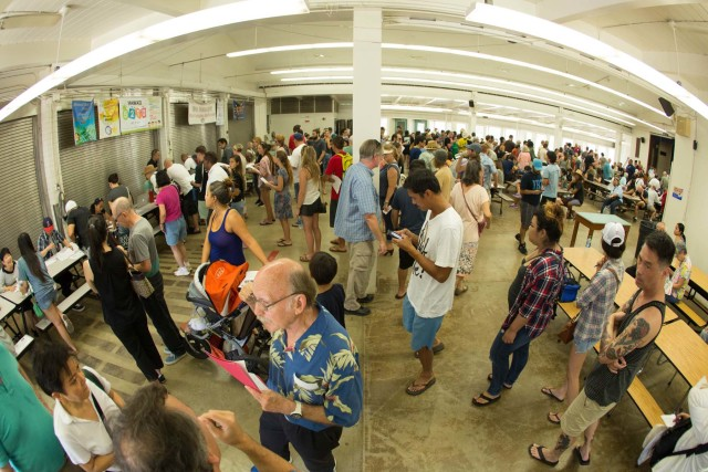 Large crowds turn out for Hawaii's Democratic Caucuses on Oahu.