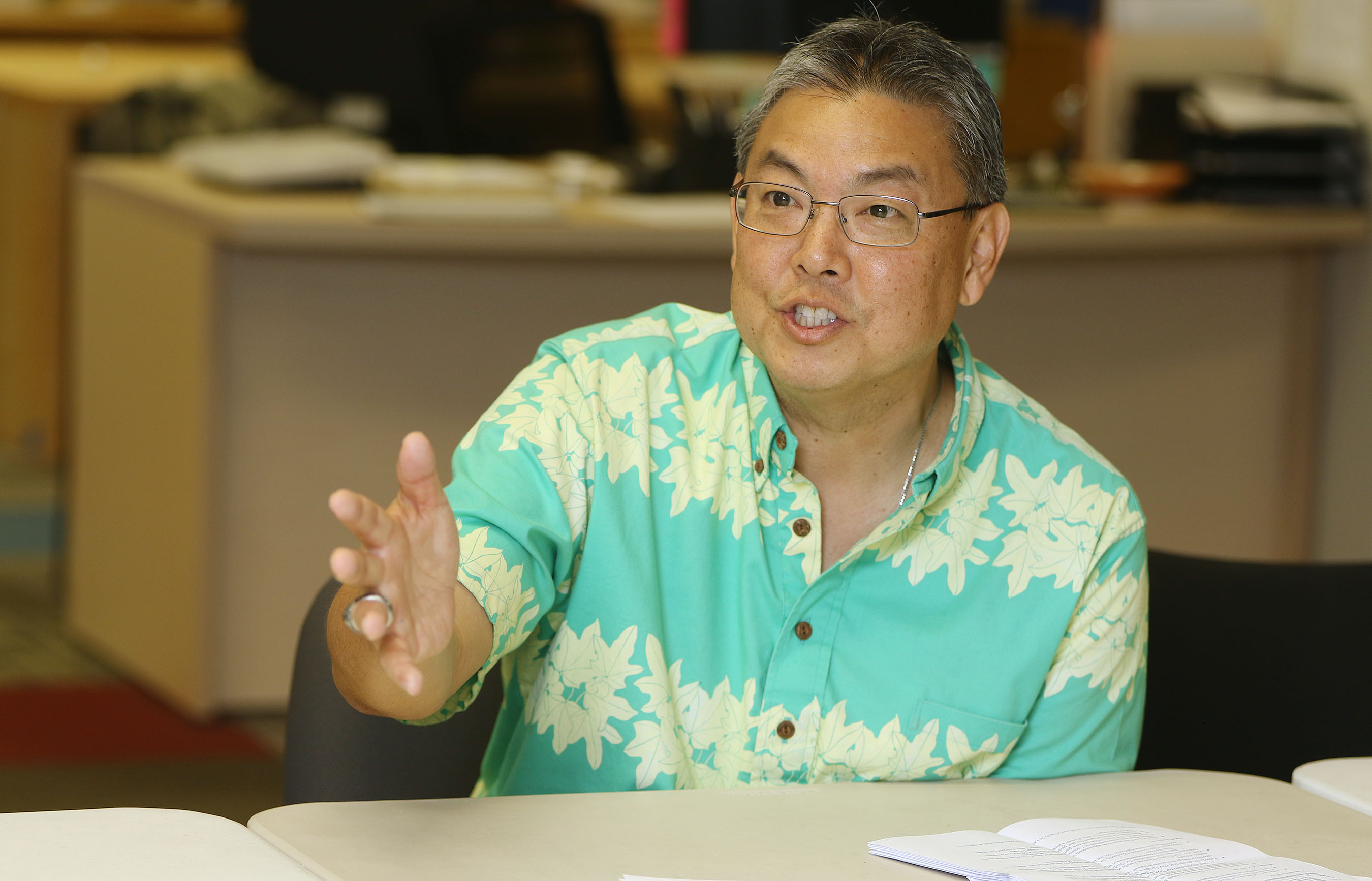 <p><strong>March 2016, Newsroom Visit:</strong> During the last of several visits to the Honolulu Civil Beat office, Takai talks with editorial board members. After having been diagnosed with pancreatic cancer the prior October, he was optimistic about running for re-election. Two months later, he dropped out of the race. He died at his Honolulu home today, July 20, 2016.</p>