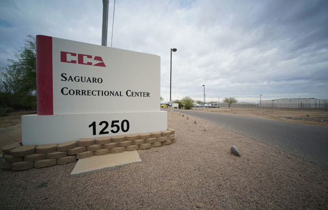 Saguaro Correctional Facility Eloy Arizona sign, entrance into parking lot.