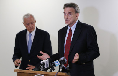 Attorney Stephen Levins and left, Attorney Rick Fried speak during Takata airbag recall presser. 13 may 2016.