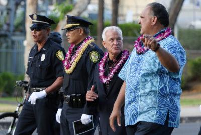 HPD Memorial Walk with Mayor Kirk Caldwell, Mayor Bernard Carvalho and HPD Chief Louis Kealoha as they march down South Beretania Street. 17 may 2016