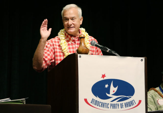 Mayor Kirk Caldwell speaks at the Hawaii State Democratic Convention held at the Sheraton Hotel. 28 may 2016.
