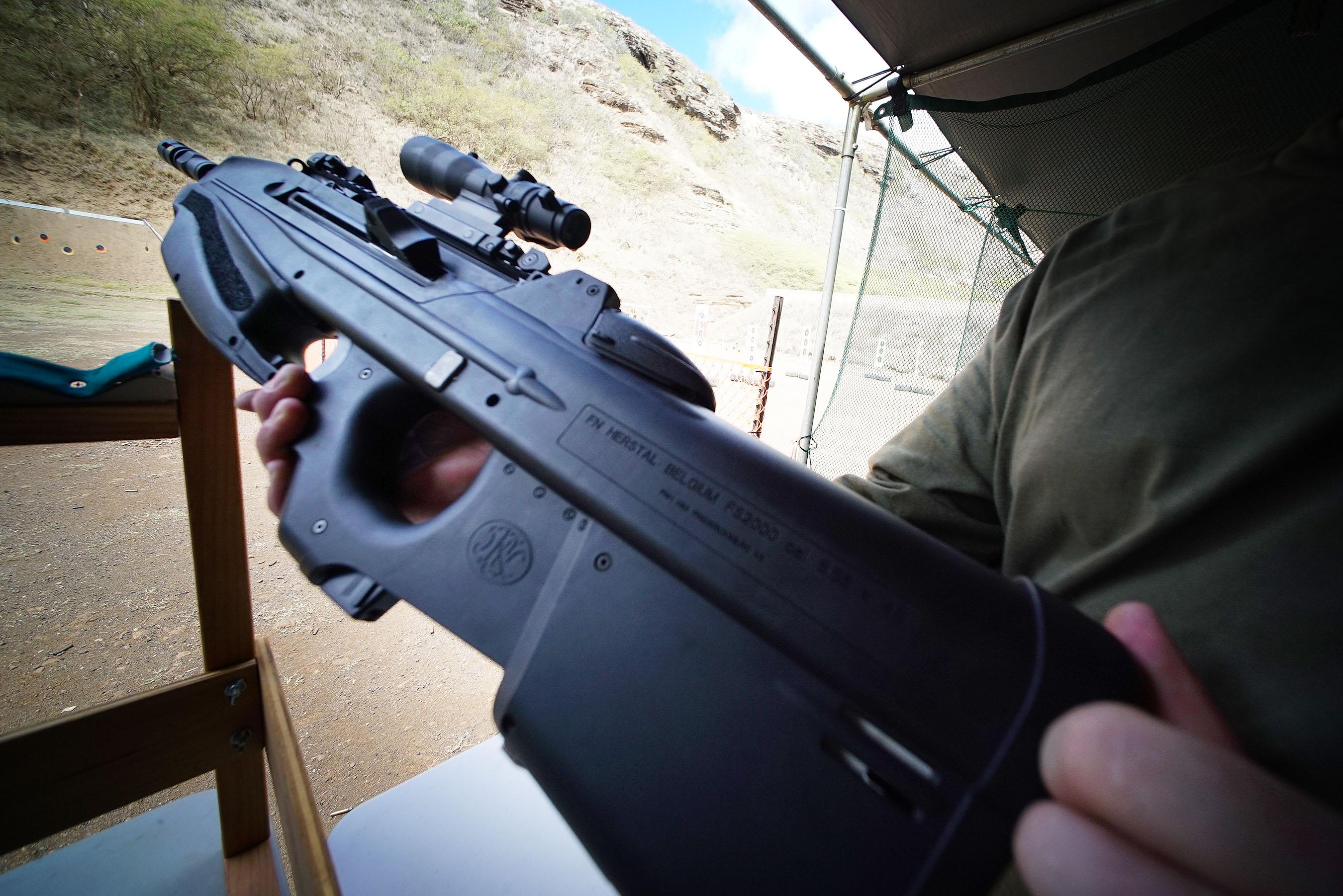 <p>An FN Herstal FS2000 5.56mm assault rifle at the Shooting Sports Fair.</p>