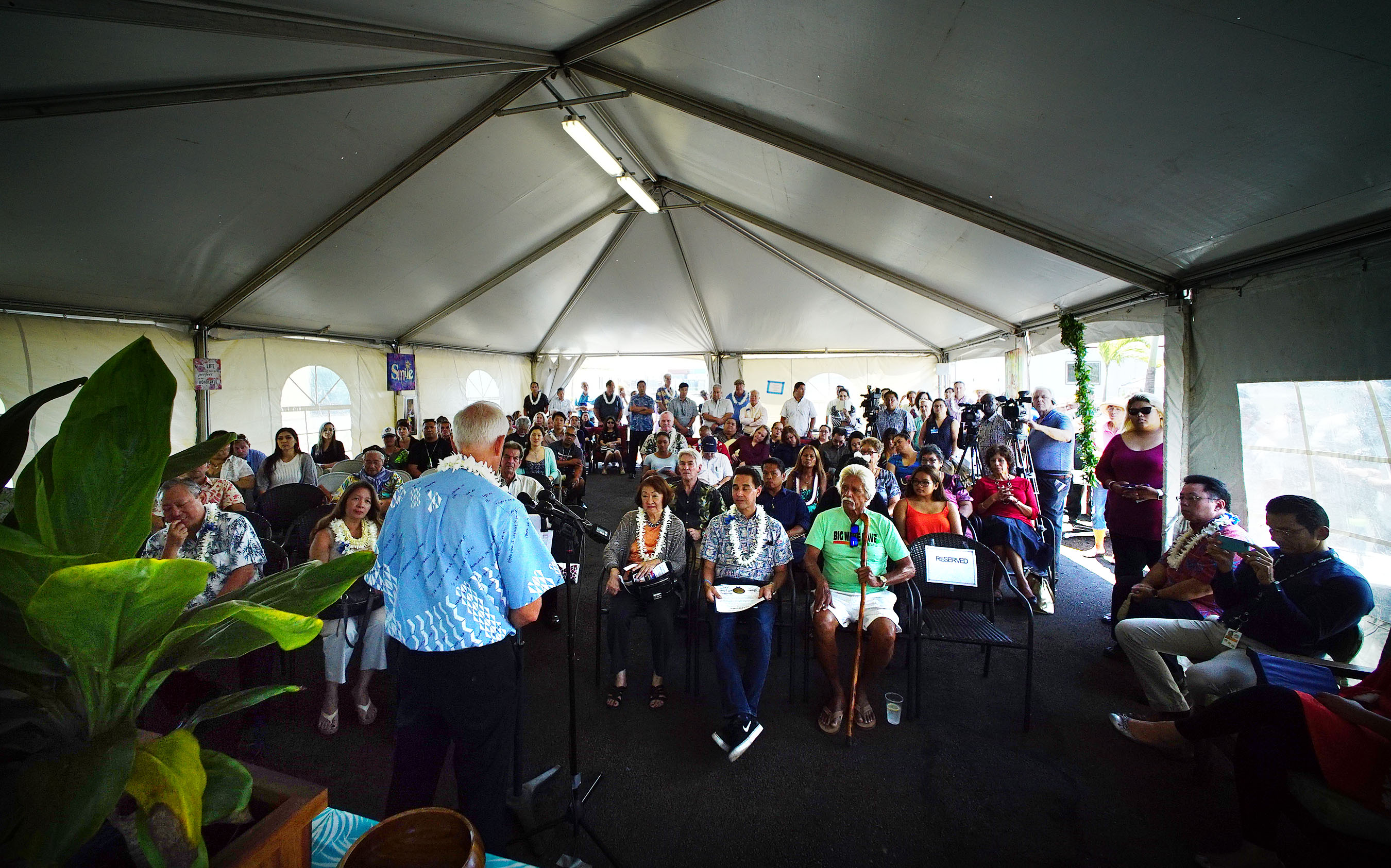 "<p>Mayor Kirk Caldwell spoke Monday during a blessing of Hale Mauliola on Sand Island, which operators call ""Hawaii's first housing navigation service center.""</p>"