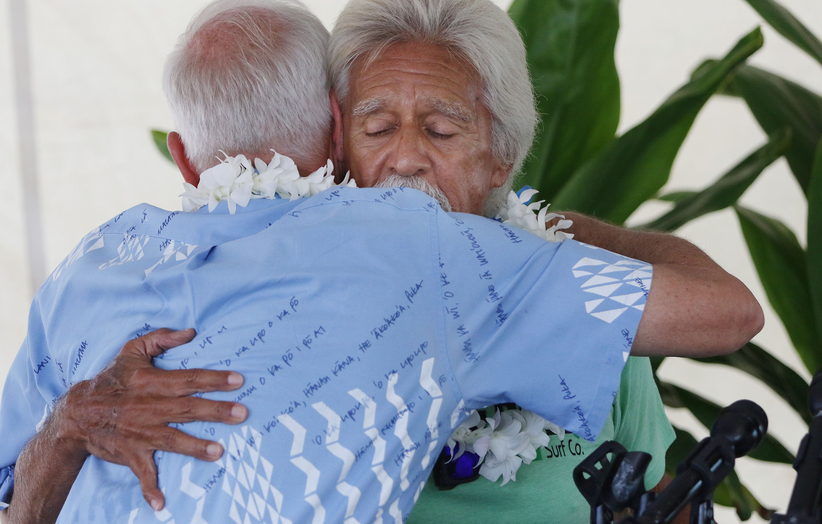 <p>Caldwell hugged Hale Mauliola resident &#8220;Uncle Clay.&#8221; Despite the celebration, a survey released Wednesday showed a 4 percent increase in Hawaii&#8217;s homeless population over a year earlier.</p>