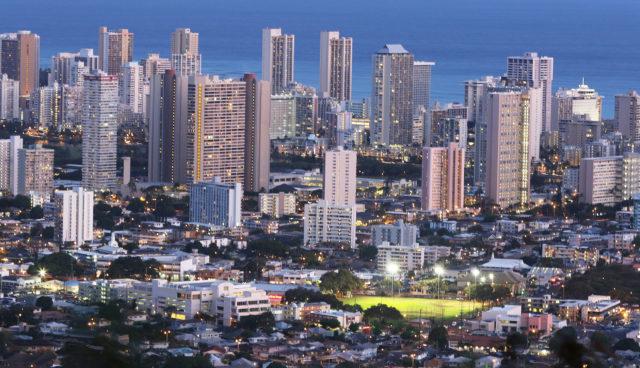 Honolulu city lights electricity HECO HEI Tantalus view. 1 june 2016
