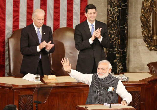 India Prime Minister Narendra Modi Vice President Biden and Speaker Paul Ryan as Modi waves to joint house/senate in House chambers. 8 6une 2016