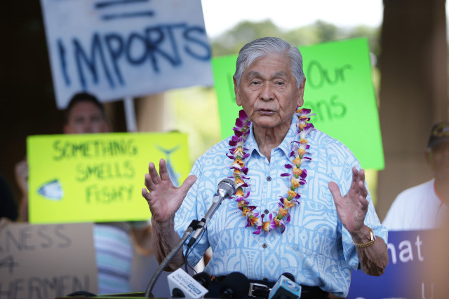 Governor George Ariyoshi Fishing Means Food rally held at the Capitol Rotunda. 26 july 2016