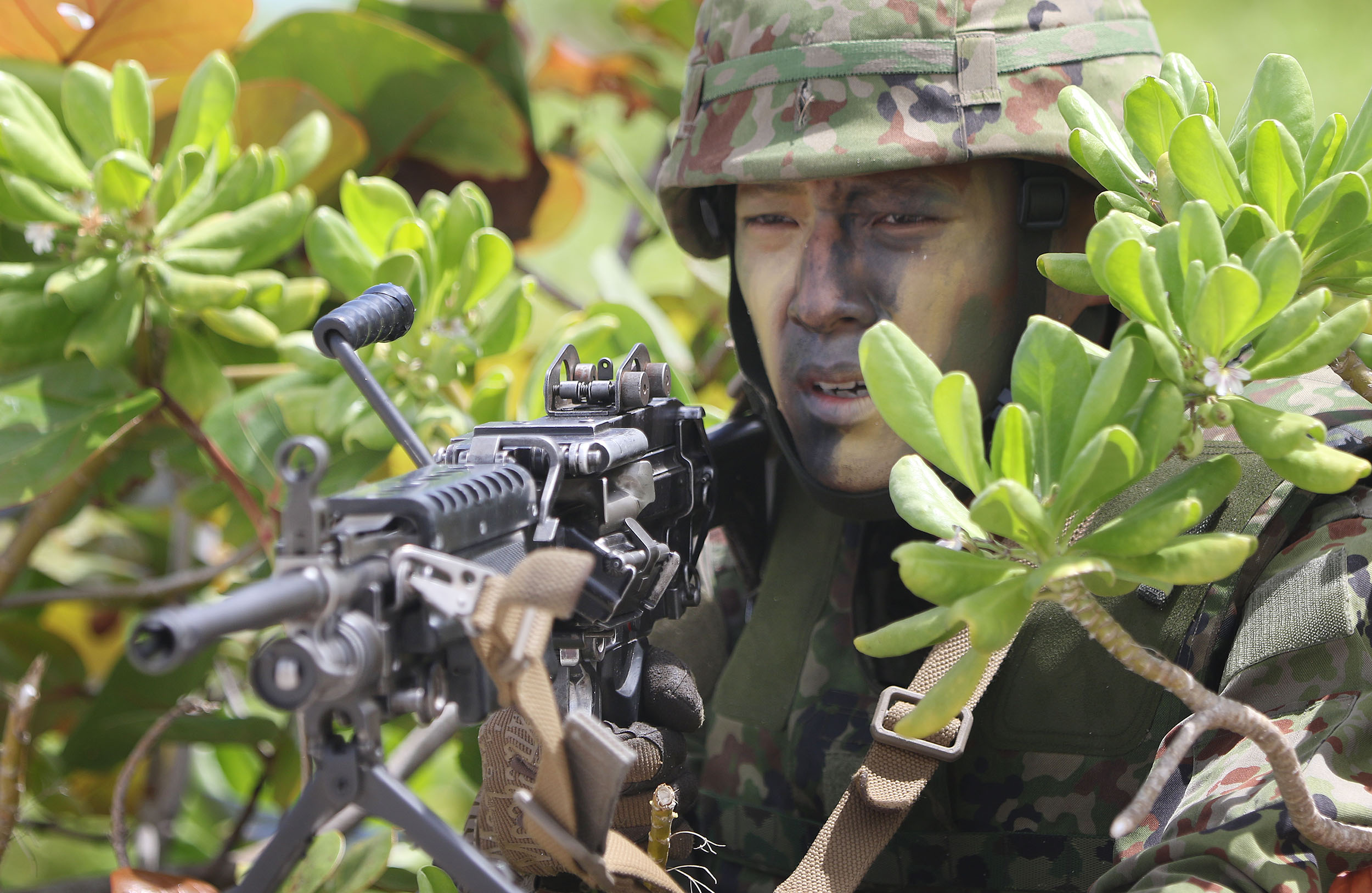 <p>A member of the Japan Ground Self-Defense Force held his positionon the beach.</p>