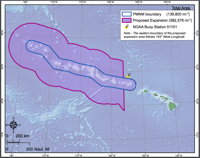 This map shows the proposed expansion area around the Northwestern Hawaiian Islands.