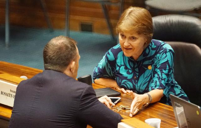 Before session convenes, Senator Rosalyn Baker speaks to Sen Josh Green. 12 july 2016