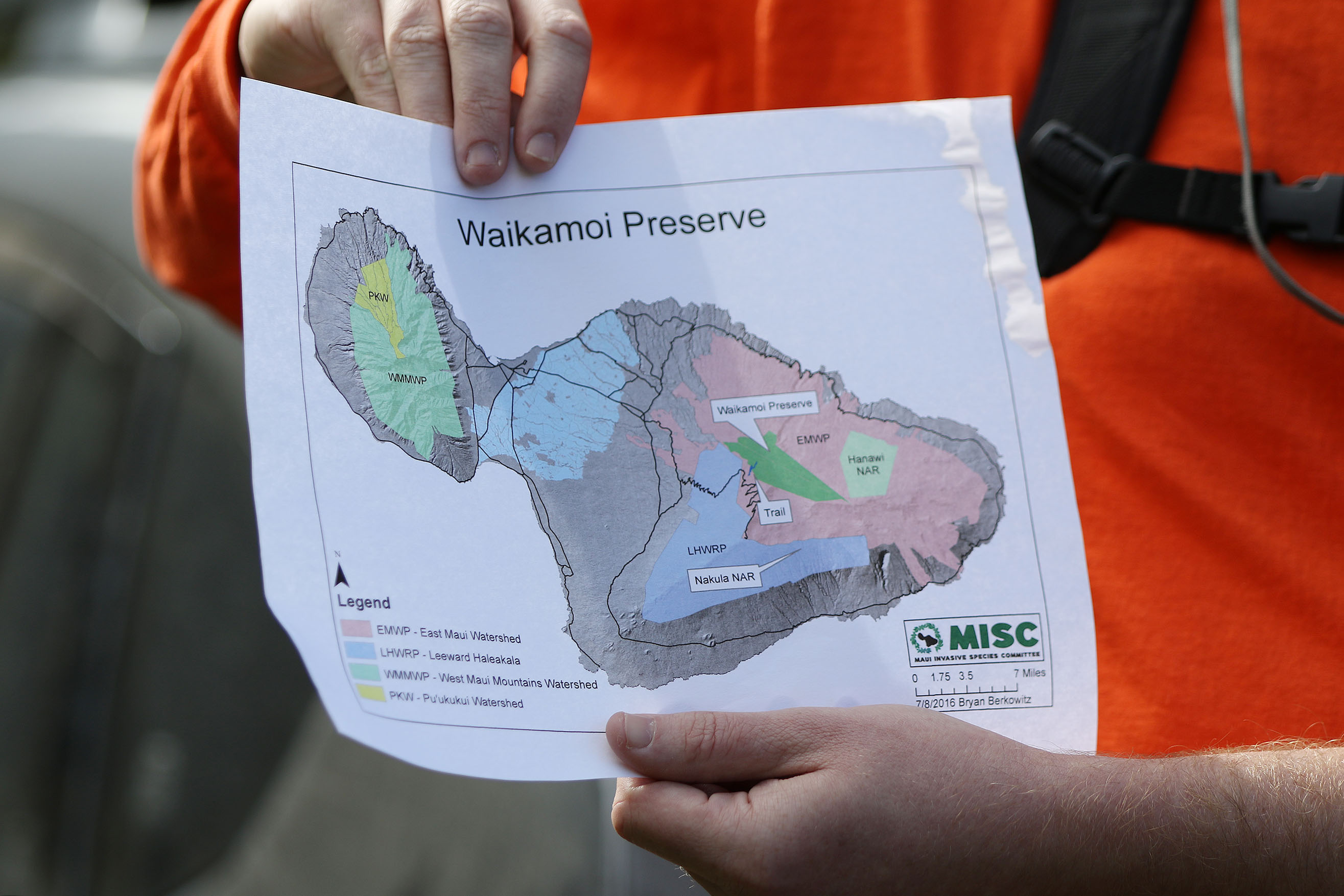 <p>On the second Saturday of every month, a small group of hikers is led into the Waikamoi Preserve, Hawaii's largest private nature preserve at 8,951 acres on the windward slope of Haleakala, Maui's dormant volcanic giant.</p>