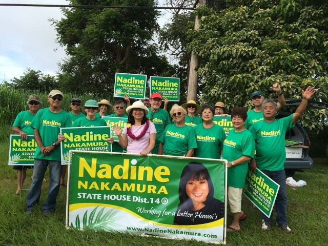 Democrat Nadine Nakamura, seen here campaigning in Kilauea, ran for state House.
