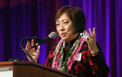 Colleen Hanabusa speaks during the Hawaii Democratic Party Unity Breakfast held at Dole Cannery ballroom. 14 aug 2016