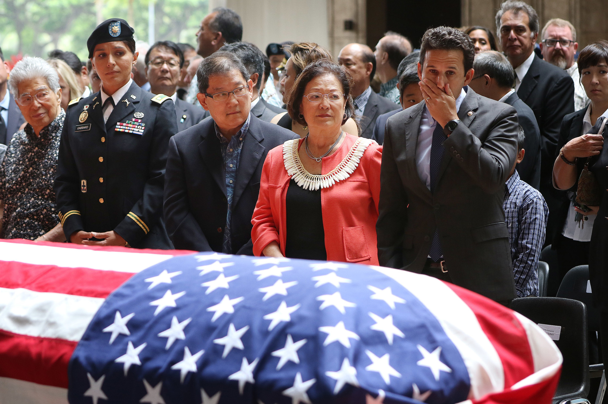 <p>Current and former federal leaders gathered for the emotional service. From left, former Sen. Daniel Akaka, Rep. Tulsi Gabbard (in her Army dress uniform), Leighton Oshima (husband of Sen. Mazie Hirono), Hirono and Sen. Brian Schatz.</p>