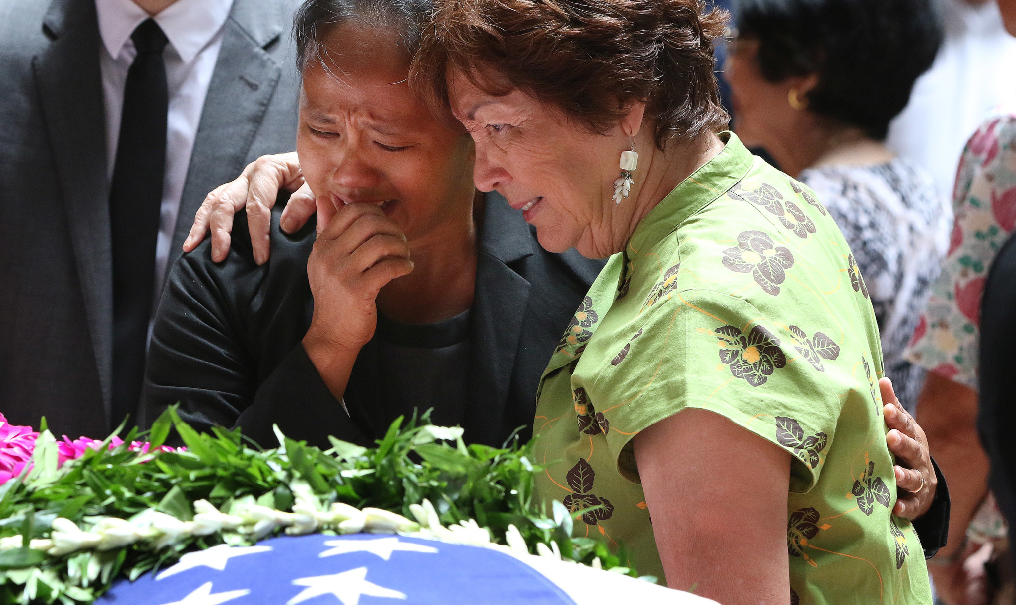 <p>State Rep. Della Au Belatti, left, and Sen. Michelle Kidani, both close friends of Takai, were among many whose emotions overflowed.</p>