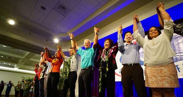 Democratic Unity breakfast after singing 'Hawaii Aloha' at the Dole Cannery Ballroom. 14 aug 2016