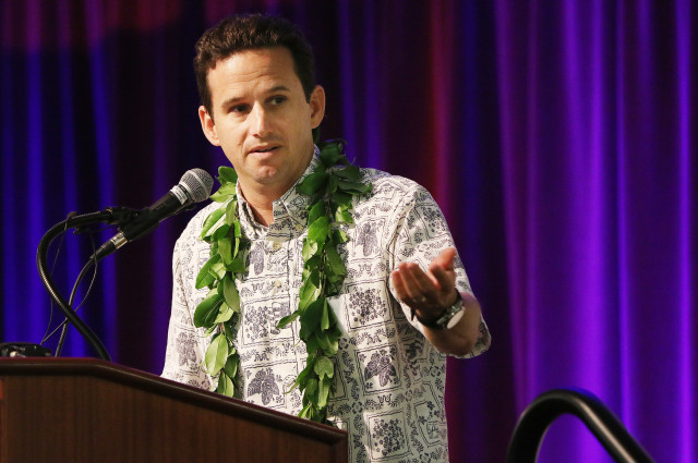 Senator Brian Schatz speaks at the Democratic of Hawaii's unity breakfast held at the Dole Cannery Ballroom. 14 aug 2016