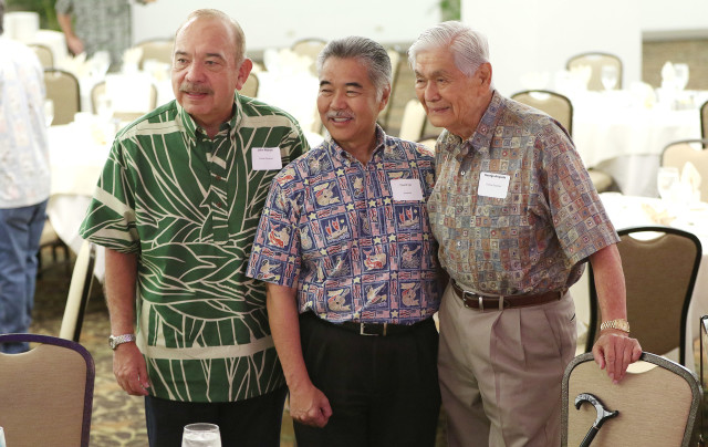 Governors John Waihee, David Ige and George Ariyoshi stand together before the Democratic Party of Hawaii's Unity breakfast at Dole Cannery ballroom. 14 aug 2016